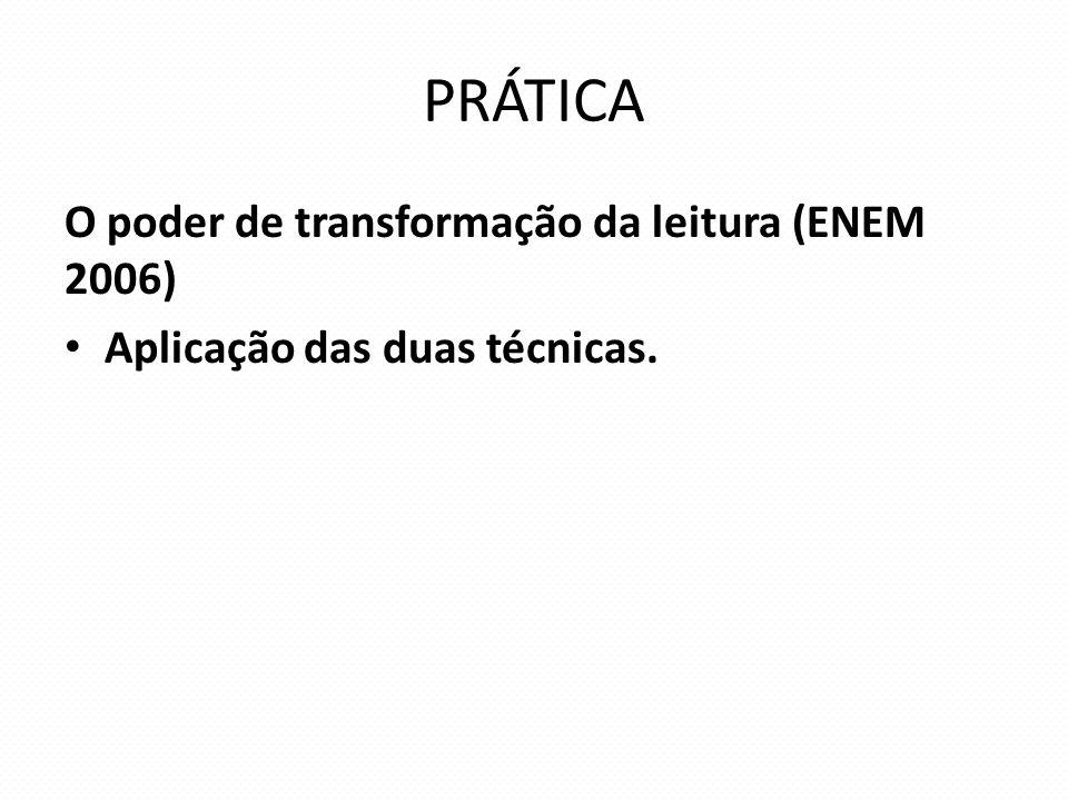 PRÁTICA O poder de transformação da leitura (ENEM 2006)