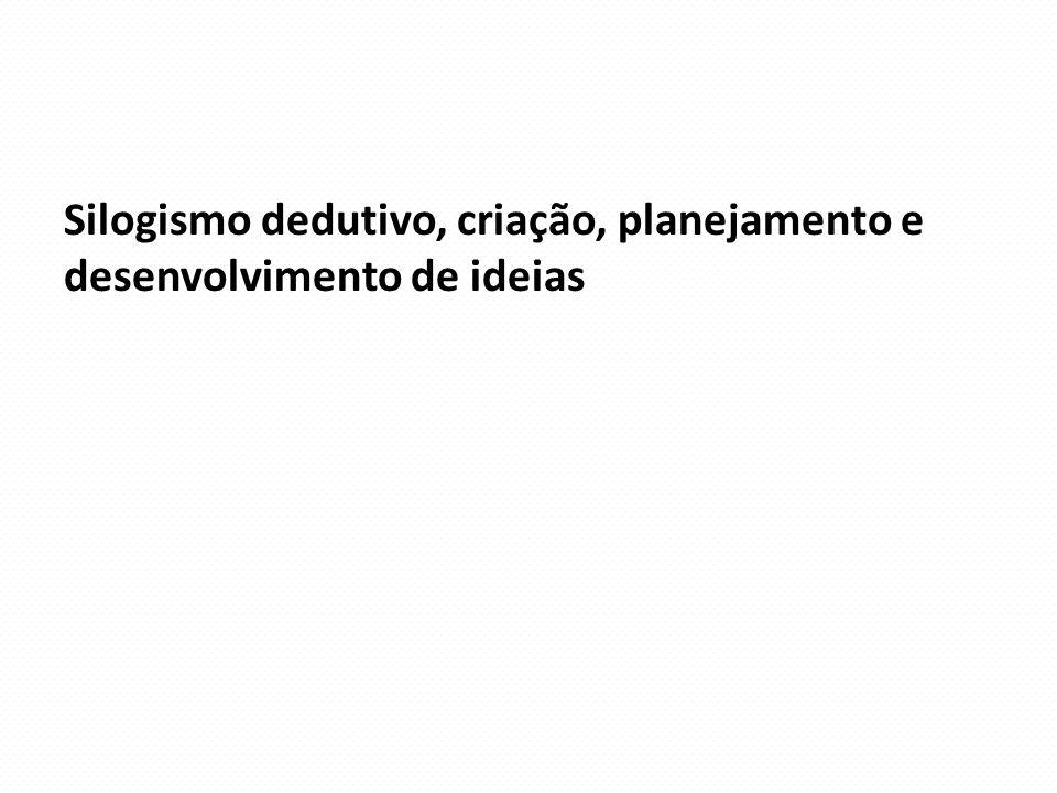 Silogismo dedutivo, criação, planejamento e desenvolvimento de ideias