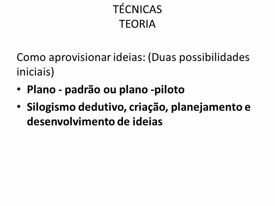 TÉCNICAS TEORIA Como aprovisionar ideias: (Duas possibilidades iniciais) Plano - padrão ou plano -piloto.