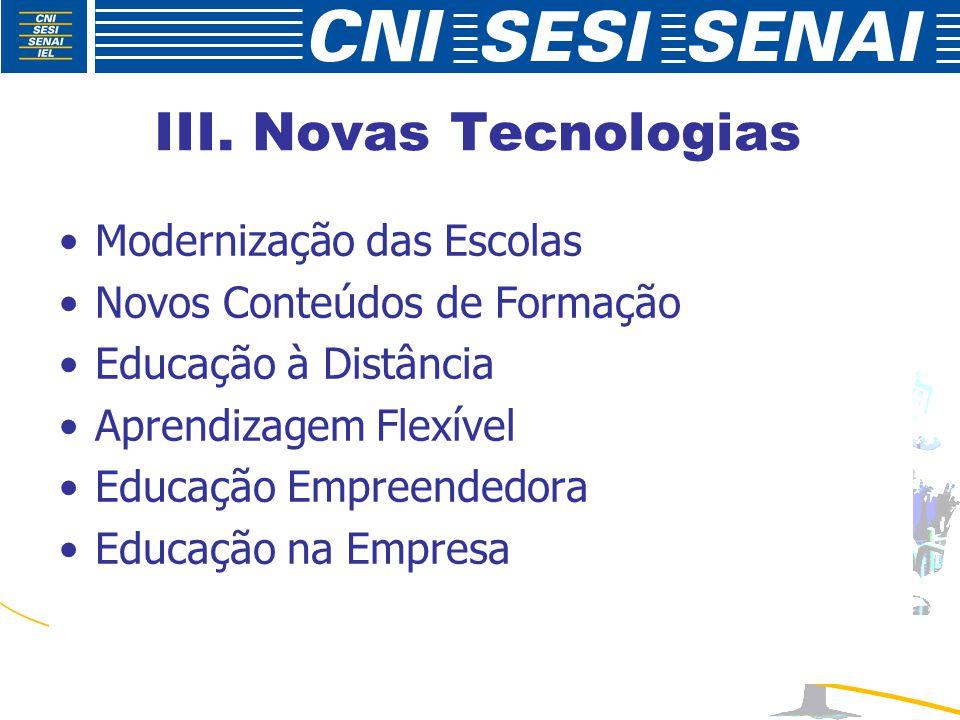 III. Novas Tecnologias Modernização das Escolas