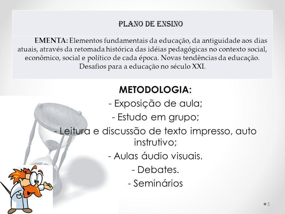 - Leitura e discussão de texto impresso, auto instrutivo;