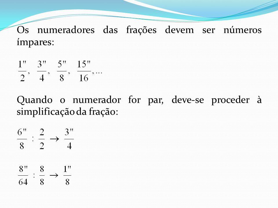 Os numeradores das frações devem ser números ímpares:
