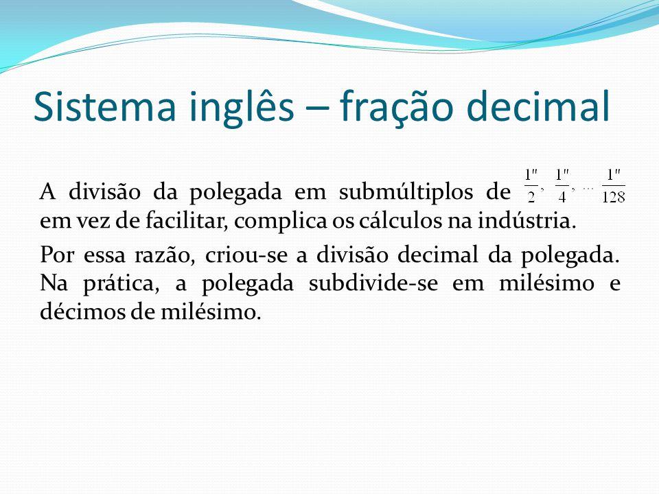 Sistema inglês – fração decimal