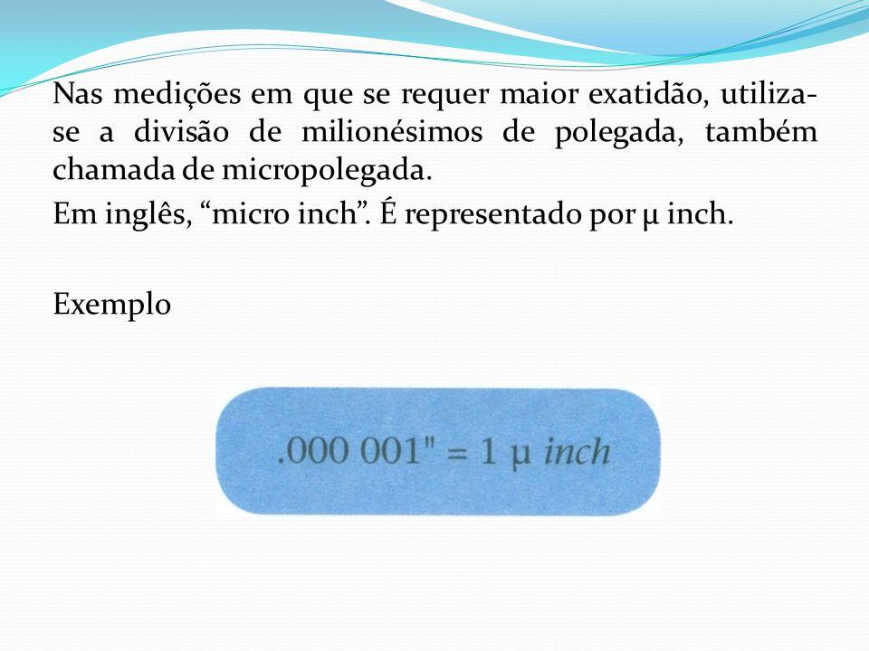Nas medições em que se requer maior exatidão, utiliza-se a divisão de milionésimos de polegada, também chamada de micropolegada.