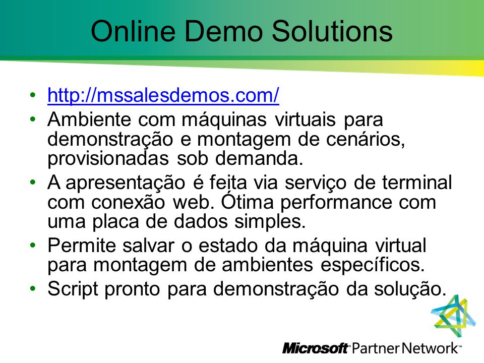 Online Demo Solutions http://mssalesdemos.com/