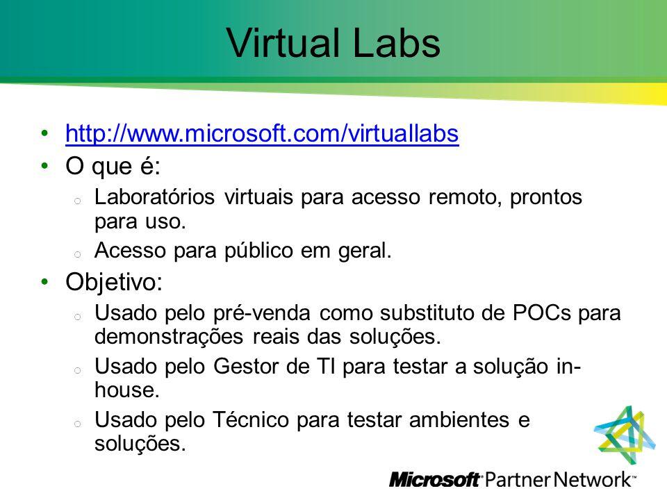 Virtual Labs http://www.microsoft.com/virtuallabs O que é: Objetivo: