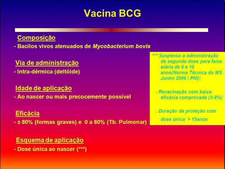 Vacina BCG Esquema de aplicação Composição Via de administração