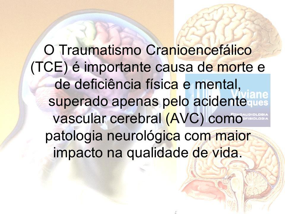 O Traumatismo Cranioencefálico (TCE) é importante causa de morte e de deficiência física e mental, superado apenas pelo acidente vascular cerebral (AVC) como patologia neurológica com maior impacto na qualidade de vida.