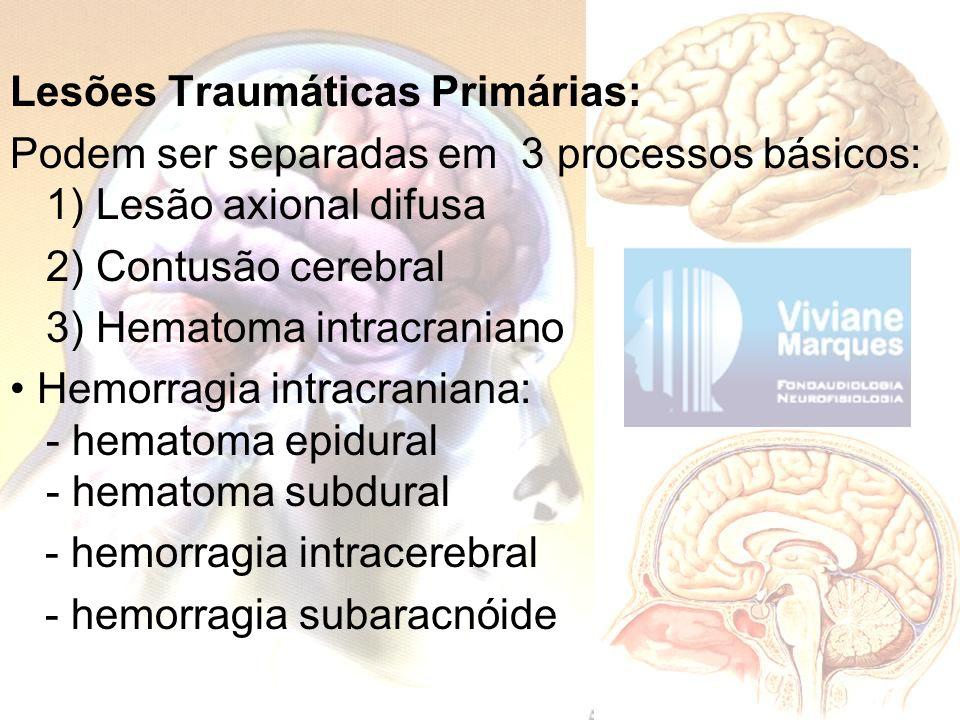 Lesões Traumáticas Primárias: Podem ser separadas em 3 processos básicos: 1) Lesão axional difusa 2) Contusão cerebral 3) Hematoma intracraniano • Hemorragia intracraniana: - hematoma epidural - hematoma subdural - hemorragia intracerebral - hemorragia subaracnóide