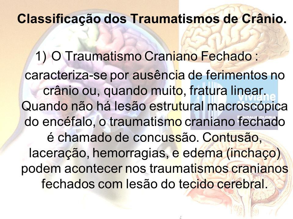 Classificação dos Traumatismos de Crânio.