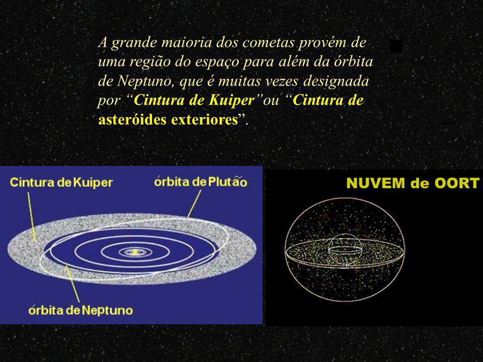 A grande maioria dos cometas provém de uma região do espaço para além da órbita de Neptuno, que é muitas vezes designada por Cintura de Kuiper ou Cintura de asteróides exteriores .