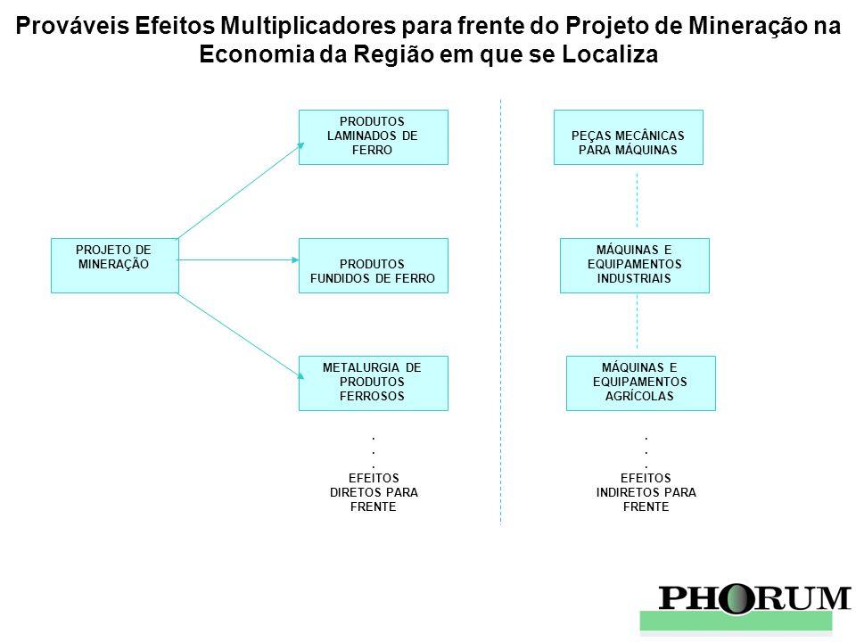 Prováveis Efeitos Multiplicadores para frente do Projeto de Mineração na Economia da Região em que se Localiza