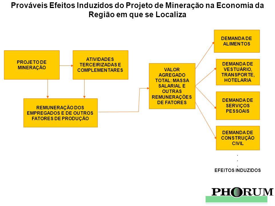 Prováveis Efeitos Induzidos do Projeto de Mineração na Economia da Região em que se Localiza