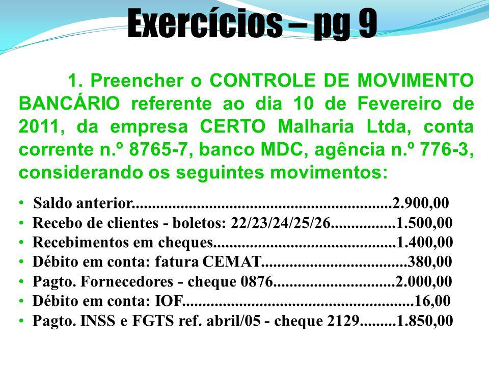 Exercícios – pg 9