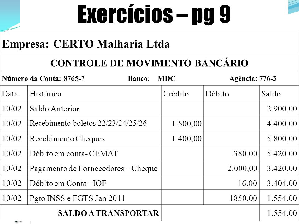 CONTROLE DE MOVIMENTO BANCÁRIO