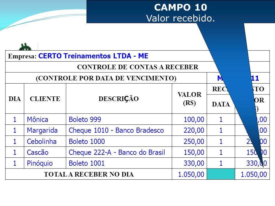 CONTROLE DE CONTAS A RECEBER (CONTROLE POR DATA DE VENCIMENTO)