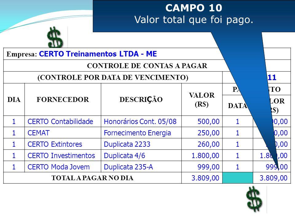 CONTROLE DE CONTAS A PAGAR (CONTROLE POR DATA DE VENCIMENTO)