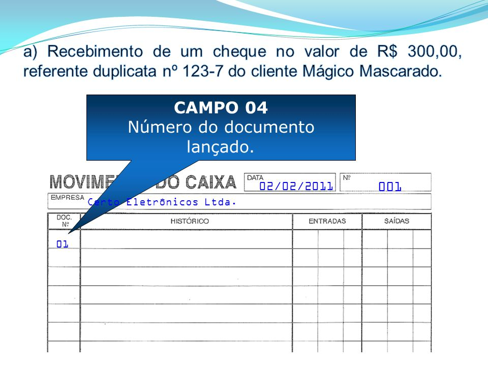 Número do documento lançado.