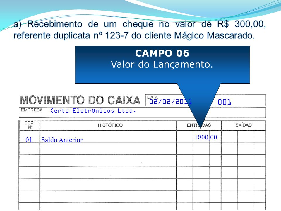 Recebimento de um cheque no valor de R$ 300,00, referente duplicata nº 123-7 do cliente Mágico Mascarado.