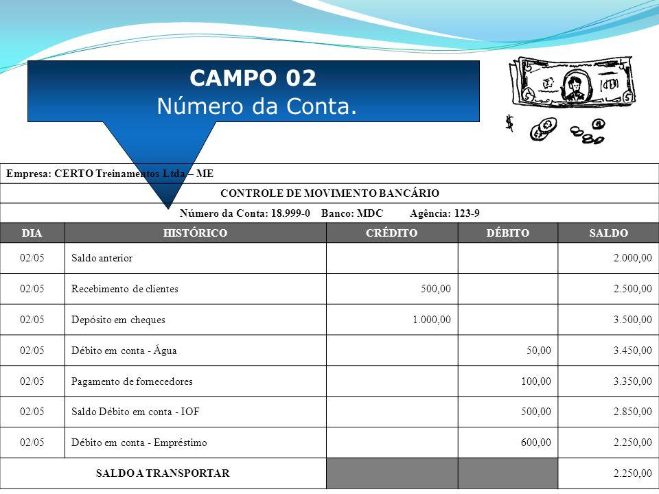 CAMPO 02 Número da Conta. Empresa: CERTO Treinamentos Ltda – ME