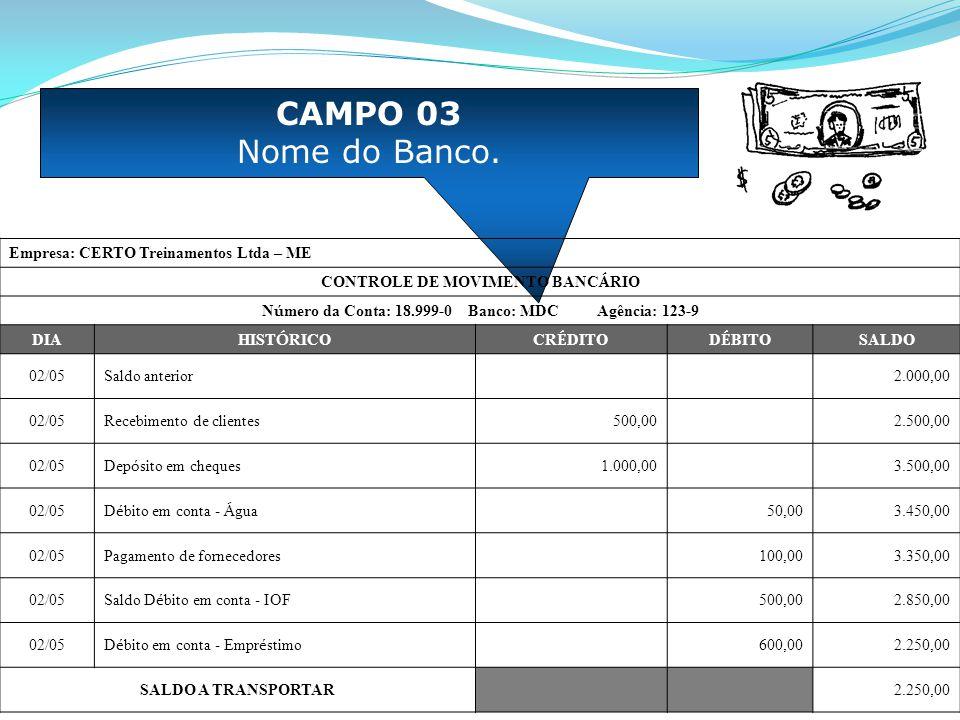 CAMPO 03 Nome do Banco. Empresa: CERTO Treinamentos Ltda – ME