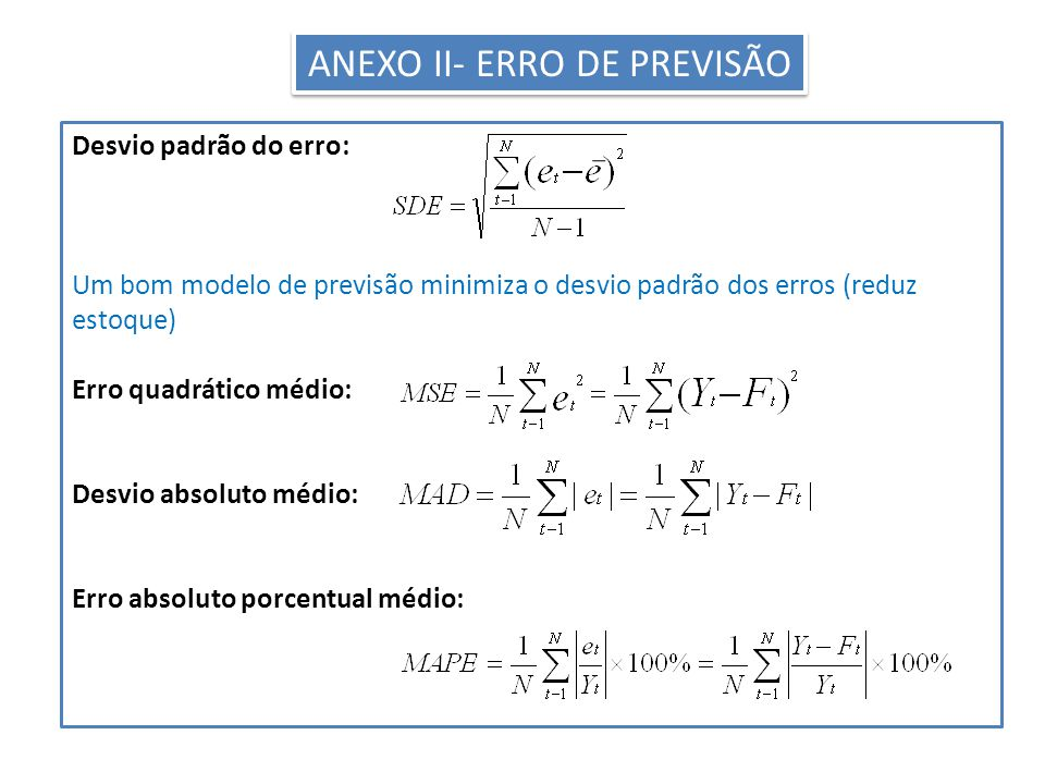ANEXO II- ERRO DE PREVISÃO