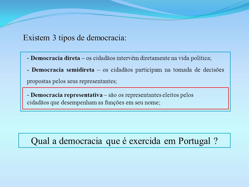 Qual a democracia que é exercida em Portugal
