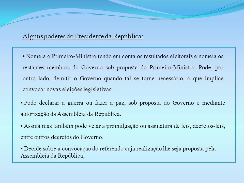 Alguns poderes do Presidente da República: