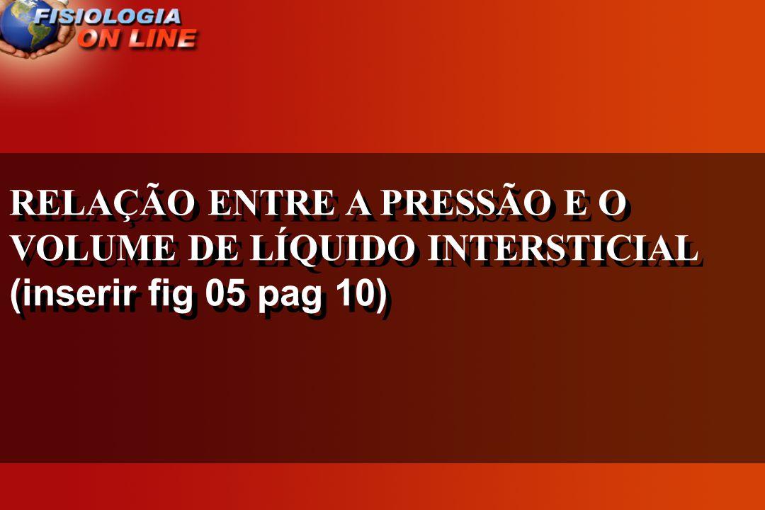 RELAÇÃO ENTRE A PRESSÃO E O VOLUME DE LÍQUIDO INTERSTICIAL