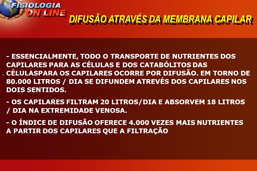 DIFUSÃO ATRAVÉS DA MEMBRANA CAPILAR