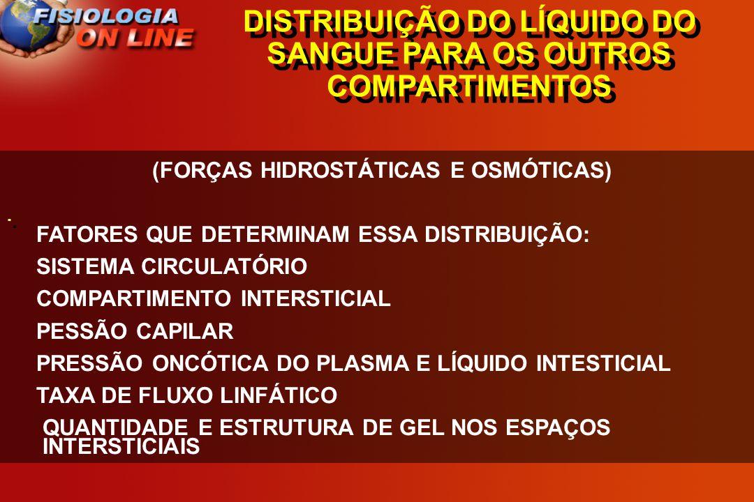 DISTRIBUIÇÃO DO LÍQUIDO DO SANGUE PARA OS OUTROS COMPARTIMENTOS