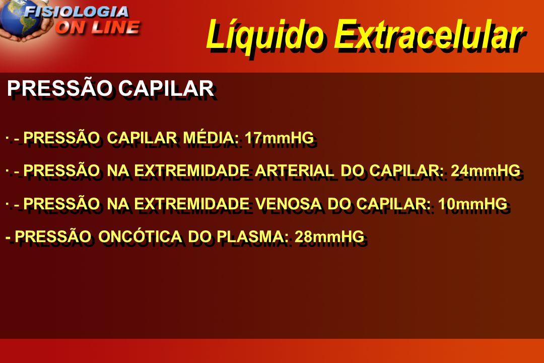 Líquido Extracelular PRESSÃO CAPILAR · - PRESSÃO CAPILAR MÉDIA: 17mmHG