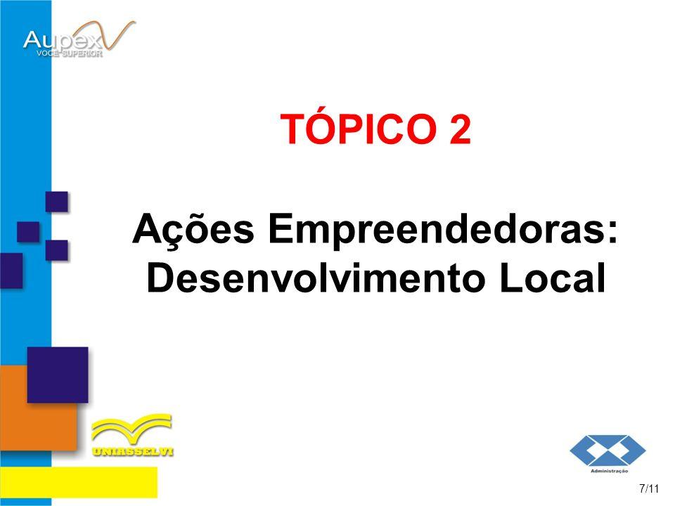 TÓPICO 2 Ações Empreendedoras: Desenvolvimento Local