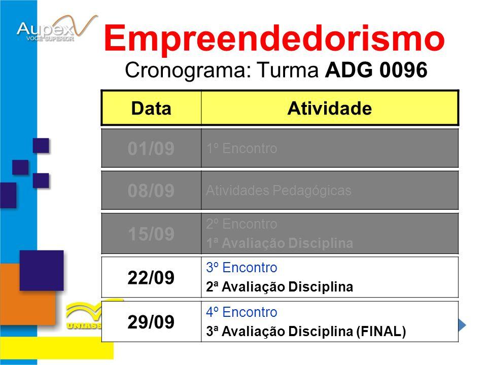 Empreendedorismo Cronograma: Turma ADG 0096 Data Atividade 01/09 01/09
