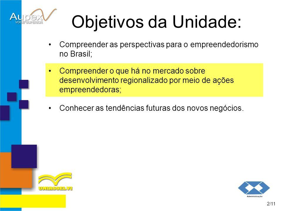 Objetivos da Unidade: Compreender as perspectivas para o empreendedorismo no Brasil;