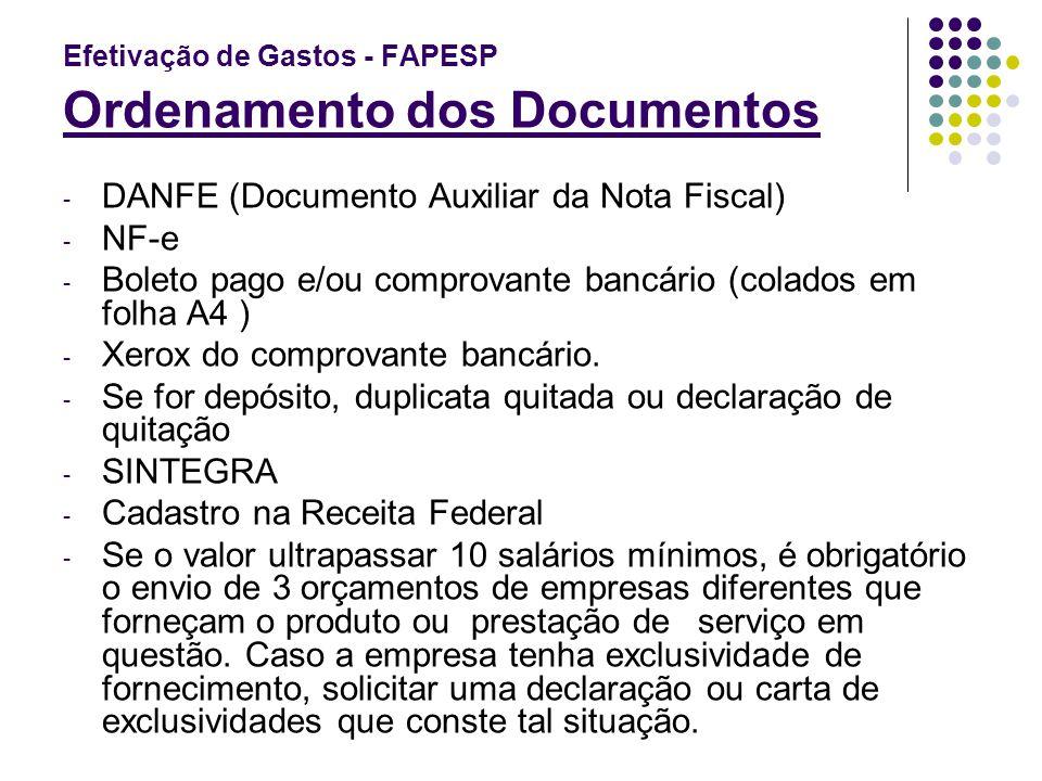 Efetivação de Gastos - FAPESP Ordenamento dos Documentos