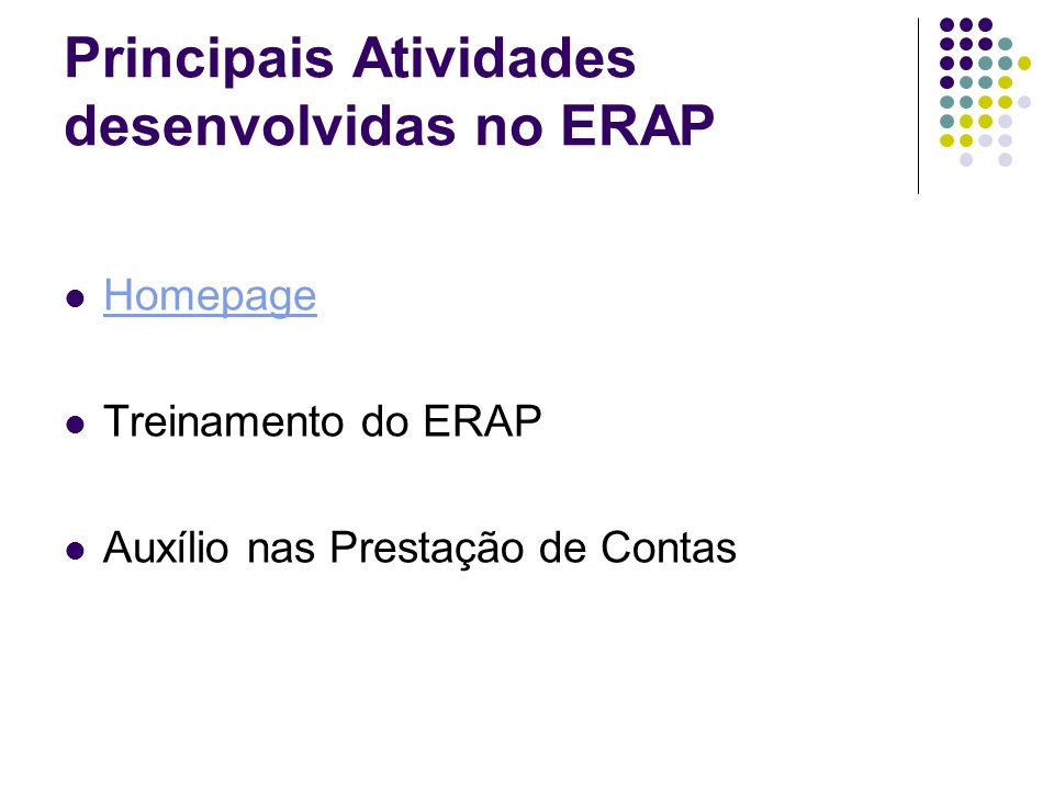 Principais Atividades desenvolvidas no ERAP