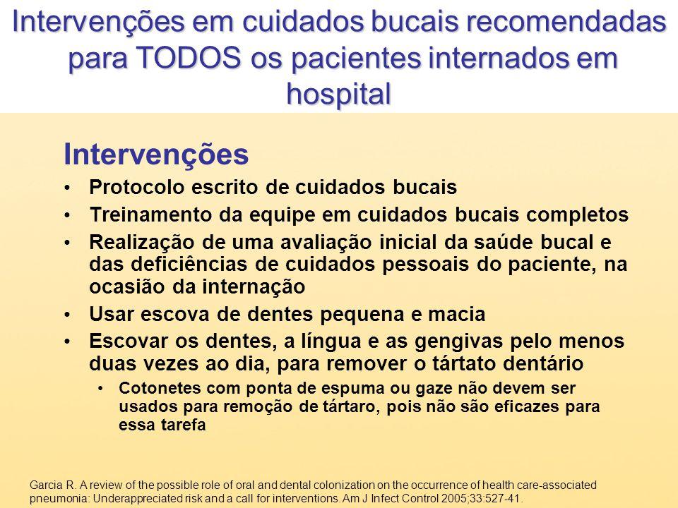 Intervenções em cuidados bucais recomendadas para TODOS os pacientes internados em hospital