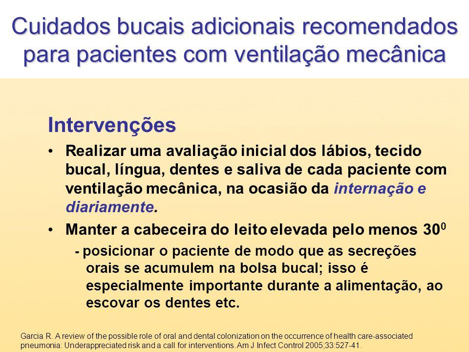 Cuidados bucais adicionais recomendados para pacientes com ventilação mecânica