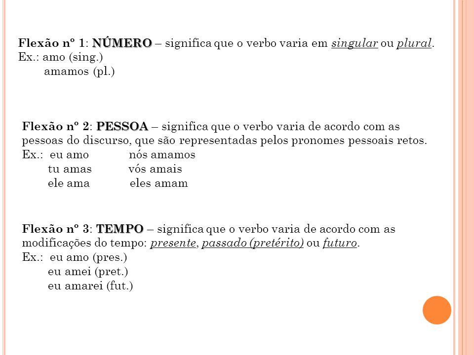 Flexão nº 1: NÚMERO – significa que o verbo varia em singular ou plural.