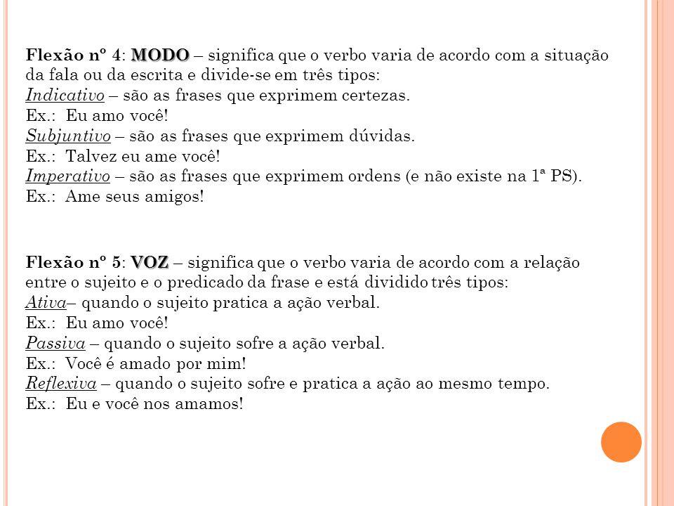 Flexão nº 4: MODO – significa que o verbo varia de acordo com a situação da fala ou da escrita e divide-se em três tipos: