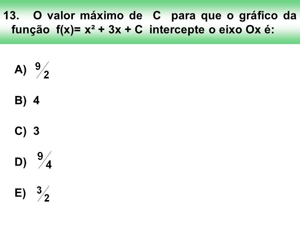 13. O valor máximo de C para que o gráfico da função f(x)= x² + 3x + C intercepte o eixo Ox é: