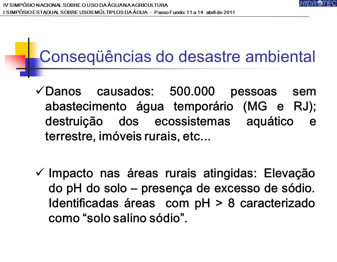 Conseqüências do desastre ambiental