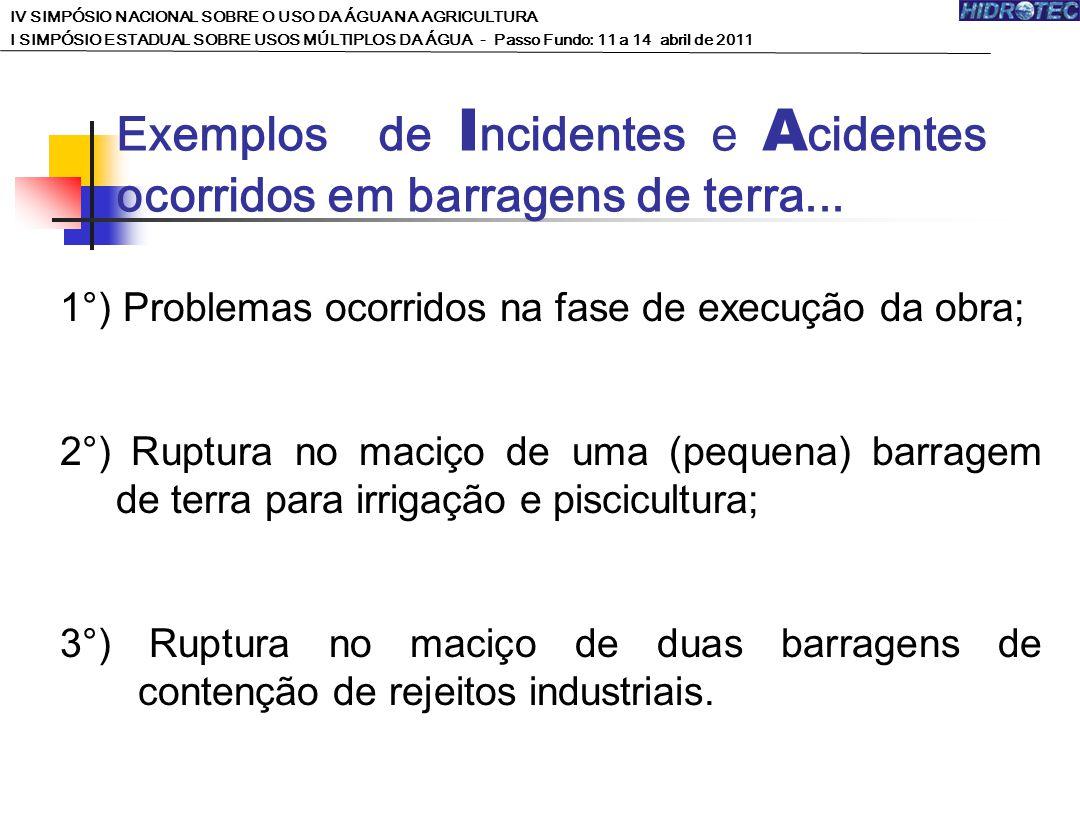 Exemplos de Incidentes e Acidentes ocorridos em barragens de terra...