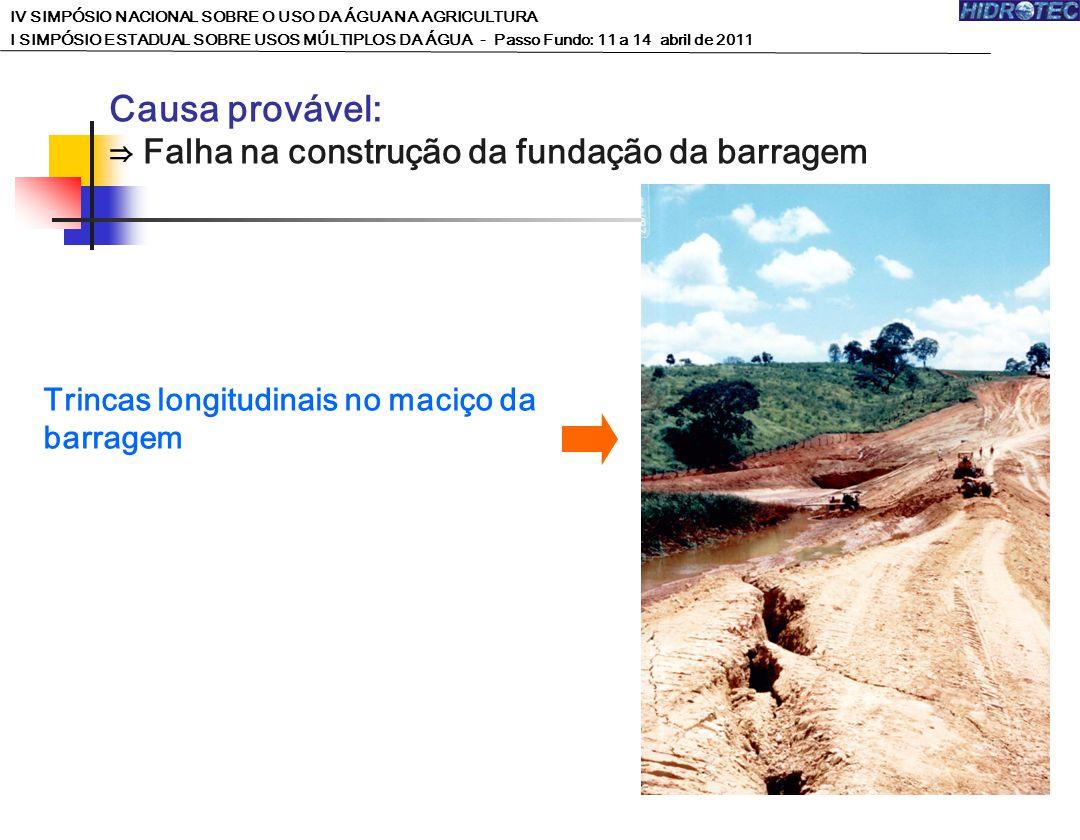 Causa provável: ⇒ Falha na construção da fundação da barragem