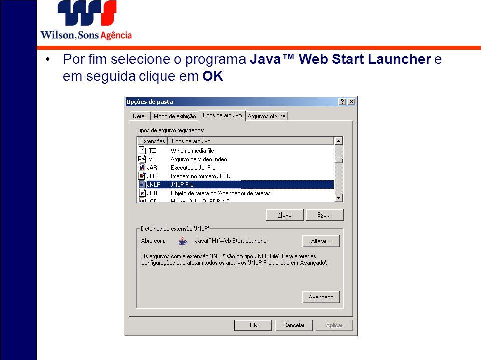 Por fim selecione o programa Java™ Web Start Launcher e em seguida clique em OK