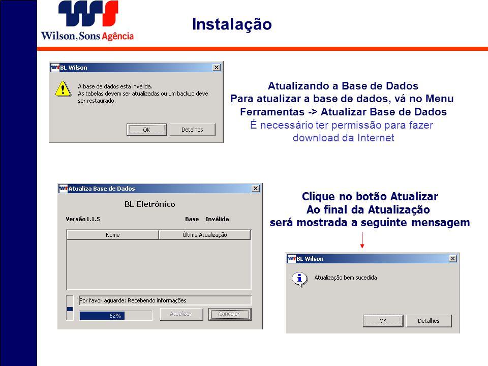 Instalação Atualizando a Base de Dados