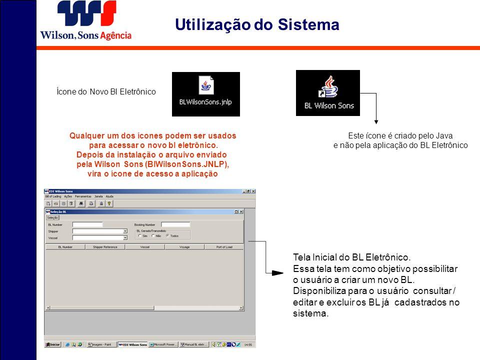 Utilização do Sistema Tela Inicial do BL Eletrônico.