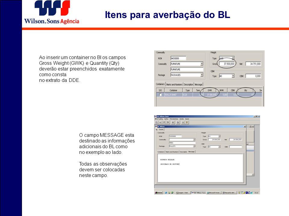 Itens para averbação do BL