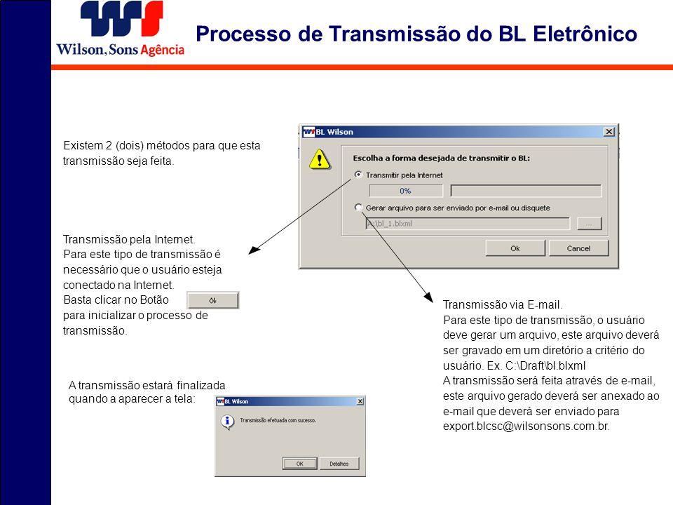 Processo de Transmissão do BL Eletrônico